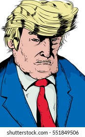 Jan. 2, 2017. Cartoon caricature portrait of angry President Donald J. Trump in blue jacket