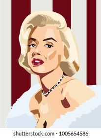 Jan, 2018: Famous actress and model Marilyn Monroe vector portrait.