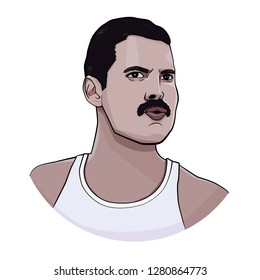 JAN 2019. Vector portrait of famous rock musician Freddie Mercury.