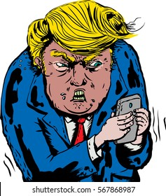 Jan. 9, 2017. Caricature of furious Donald Trump texting on his phone
