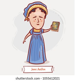 Jane Austen with her major novel