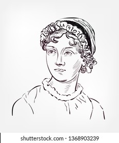 Jane Austen vector sketch illustration
