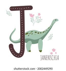 Janenschia.Letter J with reptile name.Hand drawn cute herbivores dinosaur.Educational prehistoric illustration.Sketch Jurassic animal.Childish funny floral comic font.Enjoy learning.Dino alphabet