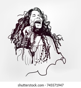 Janis Lyn Joplin legendary rock star sixties vector illustration sketch style