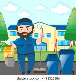 Janitor cleaning the school campus illustration