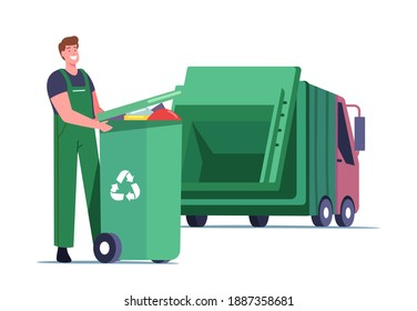 Janitor Male Character Loading Recycling Container with Litter for Separation. Garbage Man Loading Wastes to Truck for Reduce Environment Pollution. City Recycle Service. Cartoon Vector Illustration