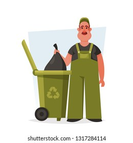 Janitor Standing Near the Trash Container. Cartoon Style. Vector Illustration