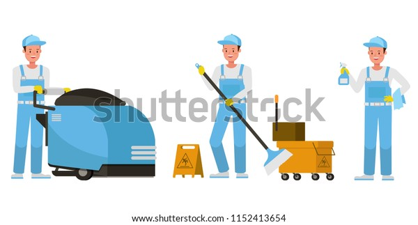 Janitor vector character design. Presentation in various action.