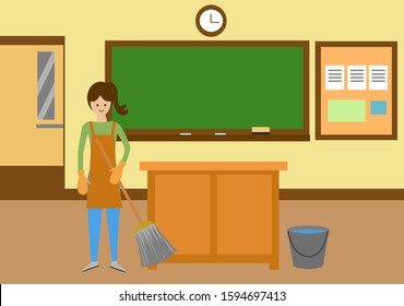 Janitor woman cleaning in a classroom vector illustration.