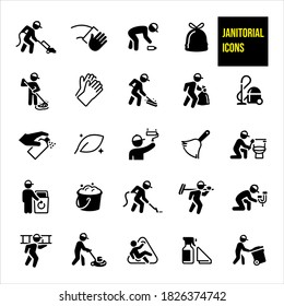 Janitorial Icons stock illustration.  A janitor vacuuming, mopping, sweeping, painting, carrying a bag of trash, picking up trash, carpet cleaning, cleaning a toilet, fixing a leaky faucet