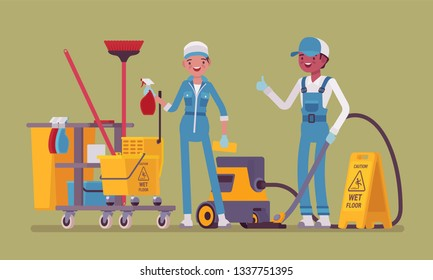Janitors team working with professional tools. Male, female workers in uniform employed to take care of building, apartment or office, janitorial supplies, equipment for cleaning. Vector illustration