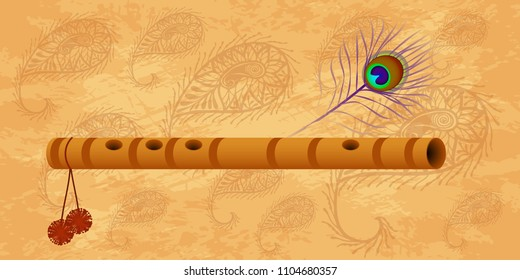 Janmashtami. Concept of a religious holiday. Indian fest. Dahi handi on Janmashtami, celebrating birth of Krishna. Peacock feather, flute. Grunge background with paisley
