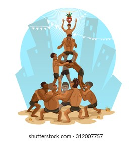 Janmashtami Dahi Handi Illustration, Indian Festival, That Involves Making A Human Pyramid And Breaking An Earthen Pot Filled With Curd Tied At Convenient Height