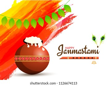 Janmashtami festival background decorated with brown pot, flute (Bansuri) and traditional mango leaves garland (Toran).