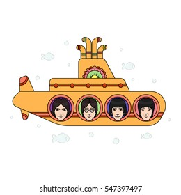 January 03, 2017: vector illustration of the Beatles band members' faces on the submarine side on white background. World Beatles Day topic (January 16).