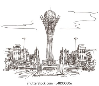 January 04, 2017: Bayterek Tower in Astana. Symbol of Kazakhstan, Hand drawn vector illustration