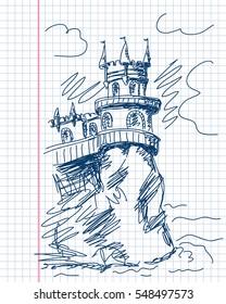 January 04, 2017: Castle Swallow's Nest in Crimea, Primitive hand drawn illustration, Blue pen sketch vector