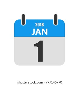 January 1, Calendar icon in a flat design. Vector illustration. The concept of celebrating the New Year.