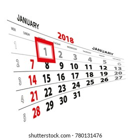 January 1, highlighted on 2018 calendar. Week starts from Sunday. Vector Illustration.
