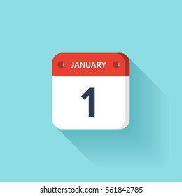 January 1. Isometric Calendar Icon With Shadow.Vector Illustration,Flat Style.Month and Date.Sunday,Monday,Tuesday,Wednesday,Thursday,Friday,Saturday.Week,Weekend,Red Letter Day. Holidays 2017.