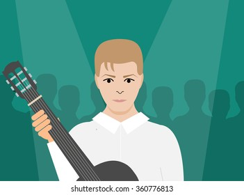 JANUARY 11 2016: Vector Illustration of David Bowie with guitar, eps10, vector, illustrative editorial - stock vector