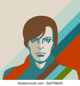 JANUARY 11, 2016: Vector Illustration of David Bowie, eps10