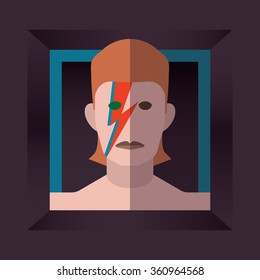 JANUARY 11 2016: Vector Illustration of David Bowie inspired by the cover of his album named Aladdin Sane, vector, illustrative editorial - stock vector