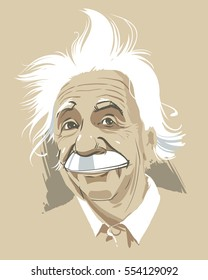 January 12, 2017: Portrait of Albert Einstein. Vector illustration. Editorial use only