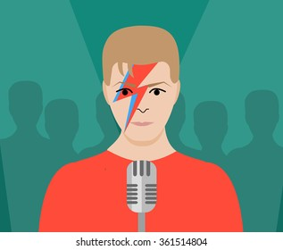 JANUARY 13 2016: Vector Illustration of David Bowie with microphone, eps10, vector, illustrative editorial - stock vector