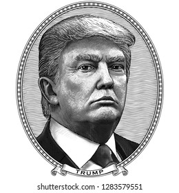 January 14, 2019. Donald Trump. Oval frame portrait of the President of USA. Black and white vector engraving in vintage style. Etching. Template for non-commercial cartoon banknotes, prints, stickers