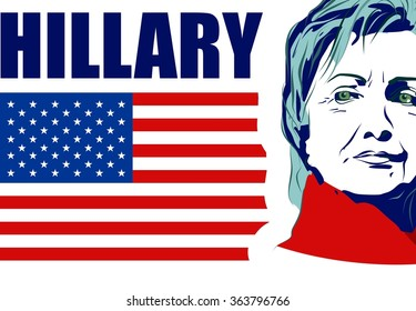 January 15, 2016: A vector illustration showing Democrat presidential candidate Hillary Clinton with name text on national flag background done in hand draw style