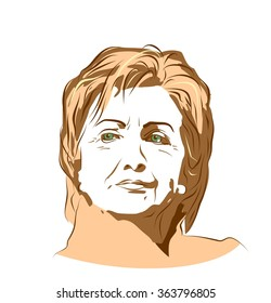 January 15, 2016: A vector illustration showing Democrat presidential candidate Hillary Clinton on isolated background done in hand draw style