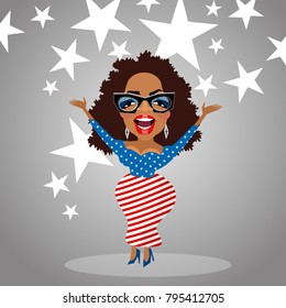 January 16, 2018. Caricature of celebrity Oprah Winfrey wearing stars and stripes dress. Vector illustration.