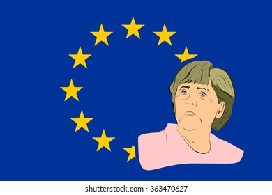 January 17, 2016: A vector illustration of a portrait of german chancellor angela merkel portrait on european union flag background