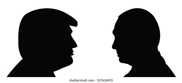 January 17, 2017: A vector illustration shows the USA president Donald Trump and Vladimir Putin. What will be the relationship between the US and Russia in future.