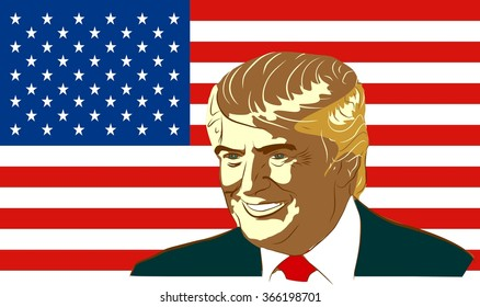 January 18, 2016: A vector illustration of a portrait of Republican Presidential Candidate Donald Trump on national flag background