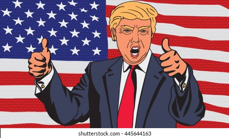 January 18, 2016: A vector illustration of a character portrait of Republican Presidential Candidate Donald Trump giving a speech on national flag background in the style of pop art.