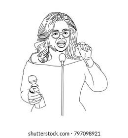 January 19, 2018: Oprah Winfrey at Golden Globes line art illustration.