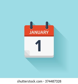 January 1.Calendar icon.Vector illustration,flat style.Date,day of month:Sunday,Monday,Tuesday,Wednesday,Thursday,Friday,Saturday.Weekend,red letter day.Calendar for 2017 year.Holidays in January.