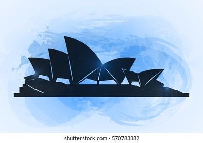 January 20, 2016. Sydney opera house background. World famous Australia tourist attraction symbol. Vector illustration.