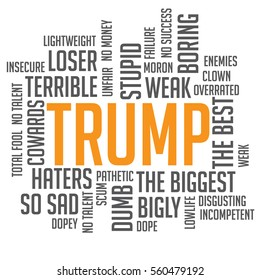 JANUARY 20, 2017: Illustrative editorial illustration of Donald Trump word cloud with words he uses often on social media. EPS 10 vector.