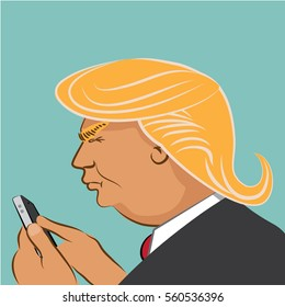 JANUARY 20, 2017: Illustrative editorial cartoon of Donald Trump using social media to comment. EPS 10 vector.