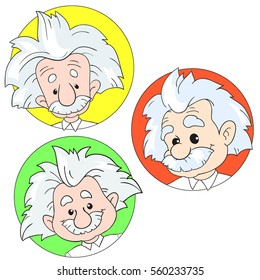 JANUARY 20, 2017: A vector illustration of a set of portraits of Albert Einstein. Cartoon portrait isolated, vector editorial. Einstein, scientist, professor, genius, mathematician, physicist, chemist