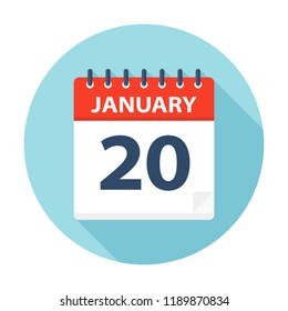 January 20 - Calendar Icon - Vector Illustration