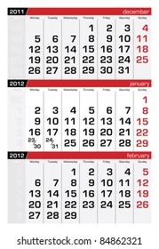 January 2012 Three-Month Calendar