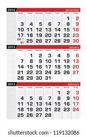 January 2013 Three-Month Calendar