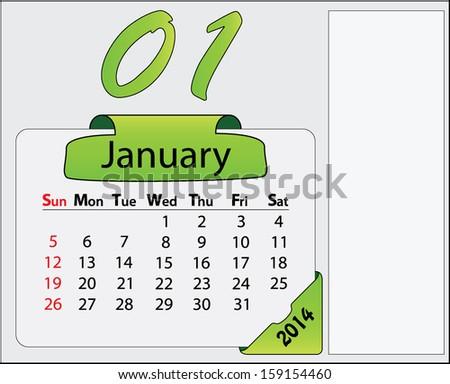 January 2014 Calendar Green Labels Free Stock Vector