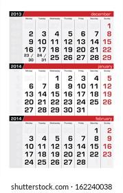 January 2014 Three-Month Calendar