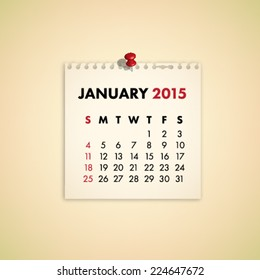 January 2015 Note Paper Calendar Vector