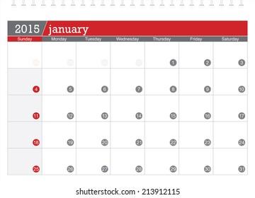 January 2015 planning calendar